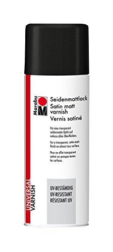 Marabu 23111018858 - Seidenmattlack, UV - beständiges Lackspray für seidenmatte Optik, für nahezu alle Oberflächen, styroporfest, lichtecht, schnell trocknend, wetterfest, 400 ml, transparent