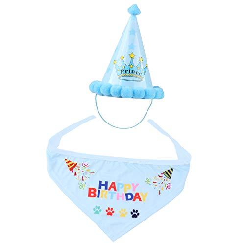 Haustier Hunde Katze Geburtstagshut Partyhut mit Alles Gute Zum Geburtstag Dreieckstuch - Blau