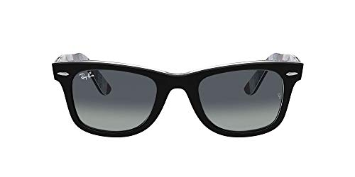 Ray-Ban 0RB2140 Gafas, Black ON Chevron Grey/Burgundy, 54 Unisex