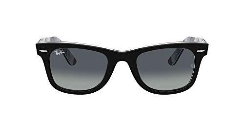Ray-Ban Rb2140 Wayfarer Gafas, Negro sobre Chevron Gris/Borgoña, 54 Unisex Adulto