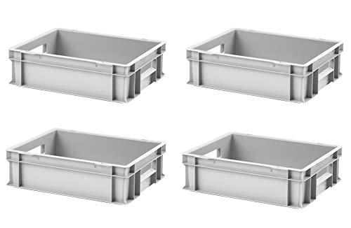 4 Stk. Euro-Stapelboxen EB-412, 400x300x120 mm (LxBxH), grau ähnl. RAL7001, aus Polypropylen, lebensmittelecht, 2 Handgriffe, ca. 11 Liter Vol.