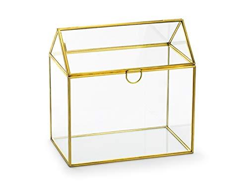 Edle Geld-Box Brief-Box Hochzeits-Box Terrarium aus Glas & Metall Gold ideal für Kuverts Hochzeits-Karten & Geld-Geschenke zur Hochzeit Hochzeits-Dekoration Deko Zubehör Accessoires Tisch-Deko