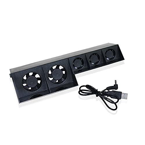 Almohadilla de refrigeración para ordenador portátil, almohadilla de refrigeración, ventilador de termostato, puerto USB PS4 Super Cooled Ventilador-Turbo Cooler para Playstation Exterior Negro