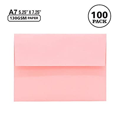 100 Pack A7 Pink Pastel Invitation 5x7 Envelopes - Self Seal, Square Flap,Perfect for Baby Shower, 5x7 Cards, Weddings, Birthday, Invitations, Graduation, 5.25 x 7.25 Inches (Rose Pink)