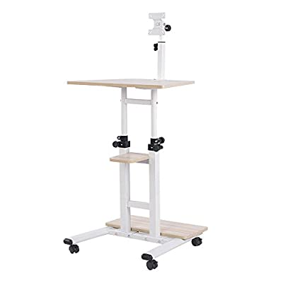 Ospius Portable Laptop Table Stand Desk Sofa Bed Tray w/ Storage Shelf Monitor Bracket
