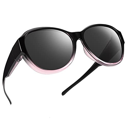 TINHAO Oversized Fit Over Sunglasses Over Glasses for Women and Men with Polarized UV Protection and HD Vision Lens (Crystal black/pink, Black)