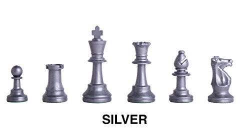 Triple - Weighted Regulation Colored Plastic Chess Pieces - Silver by The House of Staunton, Inc.