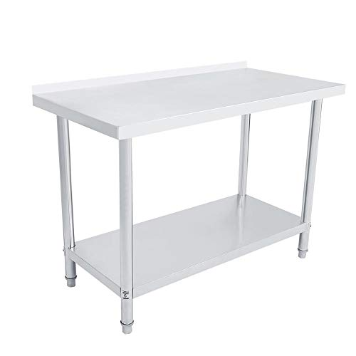 Mesa de trabajo de cocina de acero inoxidable con reborde 2FT/3FT/4FT Mesa de trabajo profesional con 2 estantes, mesa de trabajo, bricolaje, estructura estable para cocina e industrial 122X61X85CM