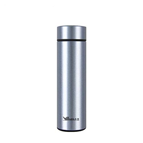 Ruisibnn Termos sportfles van roestvrij staal, geïsoleerd, dubbel vacuüm 0,45 l zonder BPA moderne stijl van zilver