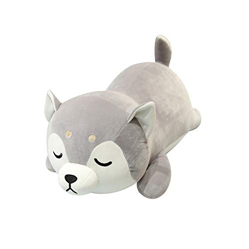 Husky Dog Crawling Plush Hug Cushion Stuffed Soft Animal Doll Bed Sofa Pillow Kids Boys Cute Toy Xmas Birthday Gift - 35cm
