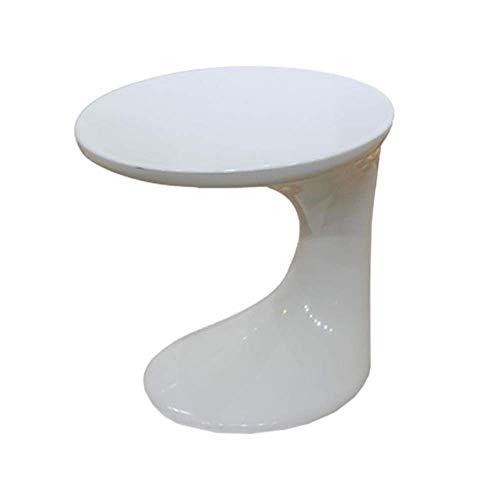 Couchtisch, Tische C-förmige Runde Tisch, Sofa-Table, Telefon Tisch/Nachttisch, Fiberglas-Couchtisch-Couchtisch Farbe: Weiß, Größe: 17.7114.9617.71in (Color : White, Size : 17.71 * 14.96 * 17.71in)