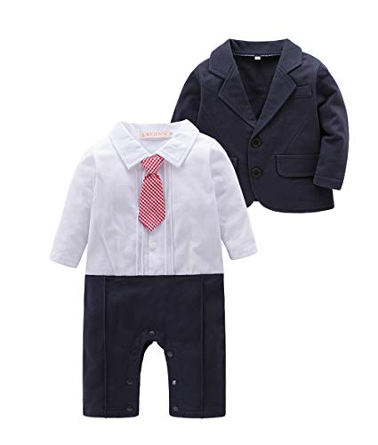 May's Baby Boys Blazer Long Sleeves Gentleman Romper with Necktie Outfit 2 Pieces Sets