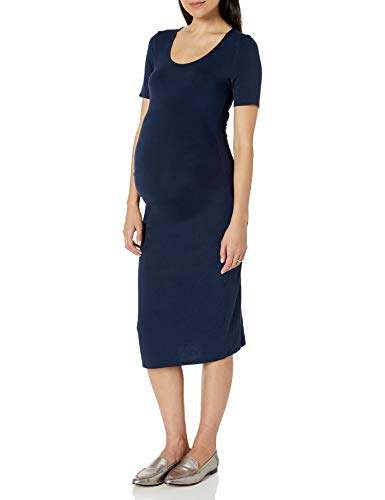 Amazon Essentials Maternity Short-Sleeve Dress Vestido, Azul Marino, Cuadros Escoceses, L