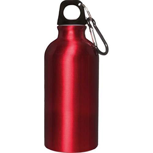Borraccia Alluminio 400 ml con moschettone Misure Articolo 6,5x17,5 cm.per info contattare MF Sport 055-264490 (Rosso)