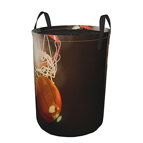 Cesto de lavandería redondo,Baloncesto atravesando la canasta en un estadio deportivo,cesto de lavandería plegable impermeable con cordón,21.6'x16.5'