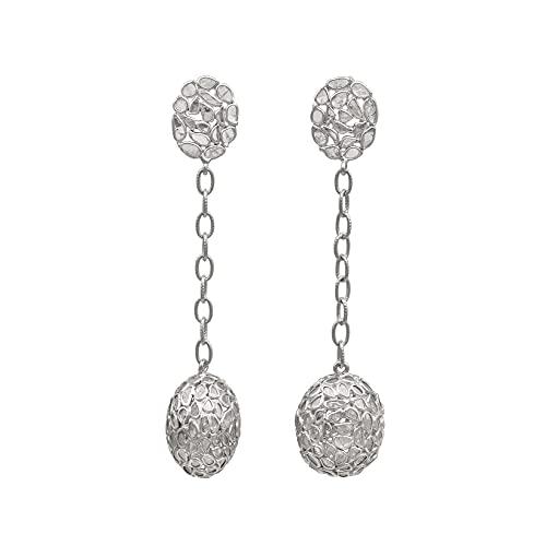 6.50 Ctw Natural Slice Diamond Polki cuelga aretes de bola de discoteca de diseñador hechos a mano - Pendientes chapados en rodio de ley 925