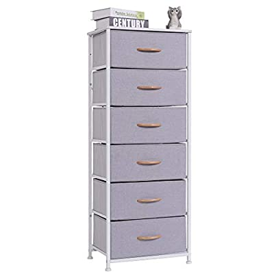 WAYTRIM Vertical Dresser Storage Tower with 6 Drawers, Fabric Organizer Dresser Tower for Bedroom, Hallway, Entryway… - 【6 Drawer Chest】Features 6 removable drawers, use in or out of the closet and keep clutter under control by storing all of your clothing and accessories in one convenient place. Easy to wipe and clean up with damp cloth which will save time in maintenance. 【Sturdy Frame】Heavy-Duty steel frame is safe, durable and rust-proof. Plastic feet not only adjust the uneven ground, increase stability, but also prevent frame and floor from scratching. MDF board top provides a hard surface to place cups, lamps, books and etc. 【Removable Drawer】Storage drawer is made of breathable non-woven fabric and MDF board, features firm, comfortable, waterproof and mildewproof. Wooden pull handles make opening and closing simple. You can even put drawers alone in the closet. - dressers-bedroom-furniture, bedroom-furniture, bedroom - 31LG02rTFWL. SS400  -