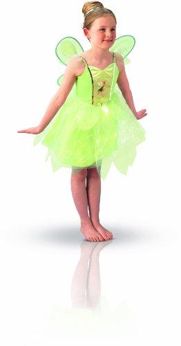 Peter Pan - Disfraz de Hada Campanilla con Luz y Alas para niña, infantil 3-4 años (Rubie's 883766-S)