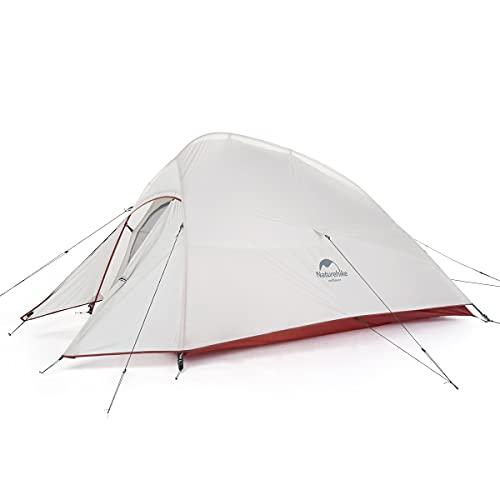 Naturehike Cloud-up 2 Upgrade Ultraleichte Zelte Doppelten 2 Personen Zelt 3-4 Saison für Camping Wandern (20D Grau Upgrade)