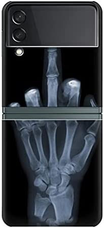R1143 X-ray Hand Middle Finger Case Cover for Samsung Galaxy Z Flip 3 5G