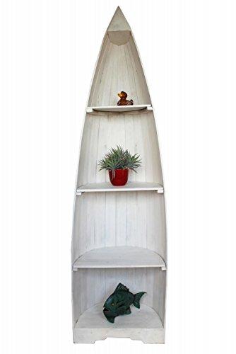 Naturesco Bootsregal Standregal Regal Boot massiv Holz maritim Weiss 195cm