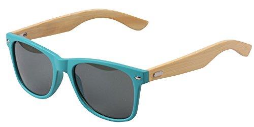 KINDOYO Occhiali da sole di bambù di gamba UV400