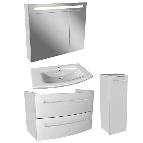 FACKELMANN witte badkamermeubelset 4-TLG. Lino met wastafel onderkast hangend keramische wastafel 90 cm & LED spiegelkast