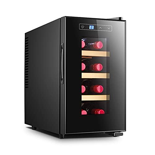 Refrigerador-Enfriador De Encimera Blanco Y Rojo-Refrigerador De Vino Compacto Independiente con Capacidad para 8 Botellas, Control Digital, Puerta De Vidrio,Vertical