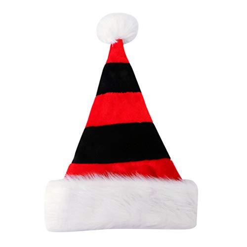 BESTOYARD Weihnachtsmützen Nikolausmützen Winter Mütze mit Weiß Plüsch Rand Weihnachten Party Favors (Rot und Schwarz)