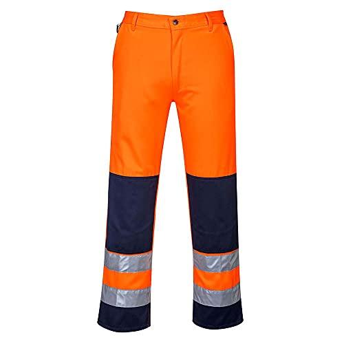 Portwest TX71 Pantaloni Alta Visibilità, Seville, Arancione/Navy, XL