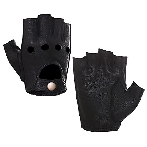 Harssidanzar Hombre Guantes de conducción de cuero sin dedos Deerskin Sin forro Dedo medio GM005A,Negro,Tamaño M