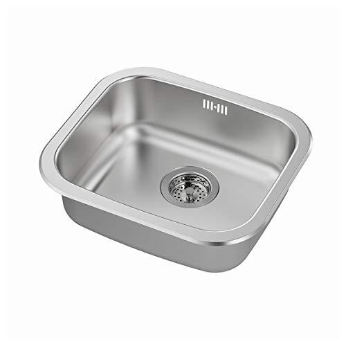 IKEA FYNDIG/LILLVIKEN - Fregadero de acero inoxidable con trampa de agua y colador