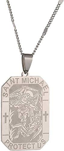BACKZY MXJP Collar De Acero Inoxidable Grabado Personalizado Joyas San Miguel Arcángel Mujeres Hombres Joyas Collar
