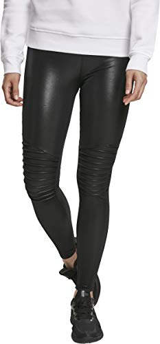 Urban Classics dames legging Kunstleder Leggings aus Lederimitat mit Biker-Elementen - Ladies Faux Leather Biker Treggins