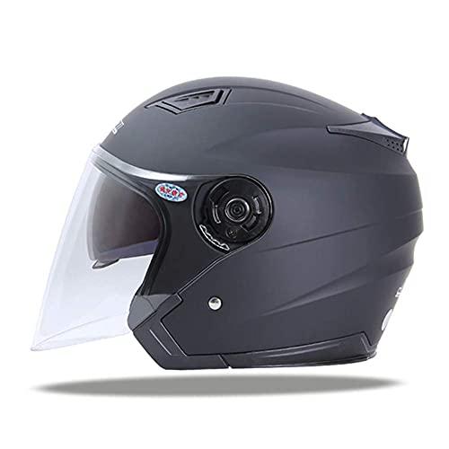 GANE Casco de Motocicleta, Protector Solar con Visera Doble abatible/Gafas antiniebla, Casco de Carreras de Bicicletas para Deportes al Aire Libre