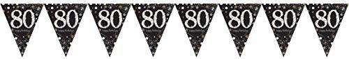Amscan 120358 Sparkling Celebration Wimpelketting, 80 jaar, zwart, goud, wit