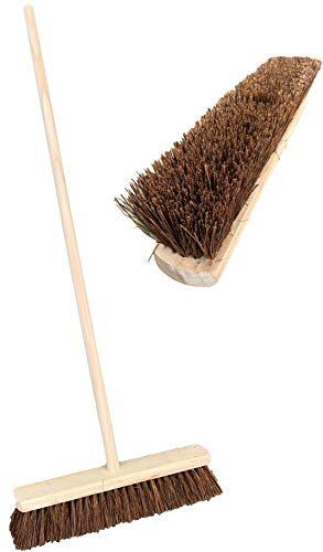 TDBS 18' Stiff Natural Bassine Broom Head with Strong Wooden Brush Handl