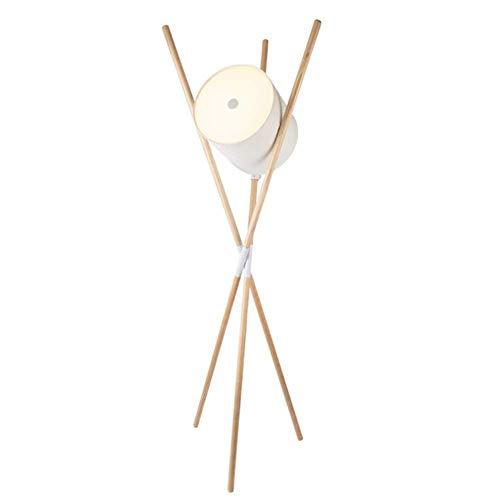 CLJ-LJ Lámpara de pie sencilla moderna E27 Mesita vertical Estante Drum decorativo para el hogar de fijación acrílica pantalla de madera trípode blanco de pie 1,73 m Lámpara con interruptor de ped