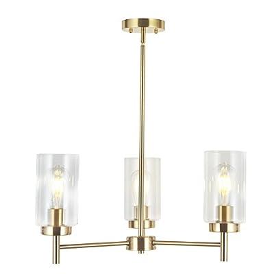 VINLUZ 5 Lights Modern Pendant Chandeliers Brushed Brass