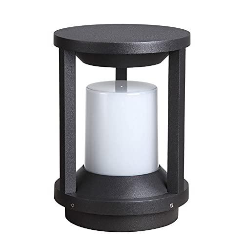 KAIKEA Luz de Valla con Tapa de Poste Redonda Negra, luz de Poste eléctrica con Enchufe IP65 para Muelle de Porche de Patio, luz para Valla, Villa, jardín, Patio, hogar, luminaria montada en mejoras,