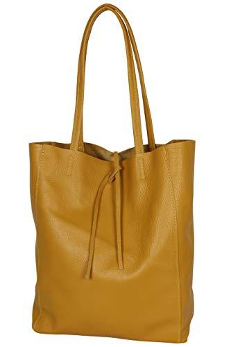 AmbraModa GL032 - Bolso de piel italiana, bolso de mujer, shopper, bolso de kombro con bolsito interior de piel de vacuno granulada (Amarillo mostaza)