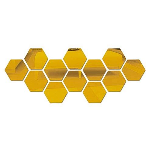 YSTJKA Azulejos De Espejo Hexagonal Espejo Hexagonal Autoadhesivo Espejo 12 PCS Hexagonal Bricolaje Espejo Hexagonal Acrílico Espejo Hexagonal 3D Espejo Hexagonal De Salón Dorado 13cm x 11cm x 6cm
