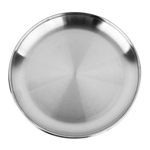 Xiton Edelstahl runde Teller Essen Tablett Picknick Geschirr tragbarer Grill Geschirr Obst Serve Tray 20cm 1pc
