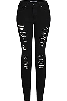 2LUV Women s Trendy Colored Distressed Skinny Jeans Black24 9