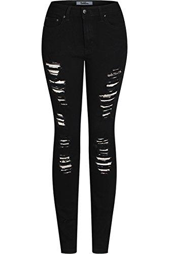 2LUV Vrouwen Stretchy 5 Pocket Vernietigd Ripped Zwarte Skinny Jeans Terug naar School Junior Kleding Kleding Zwart 0