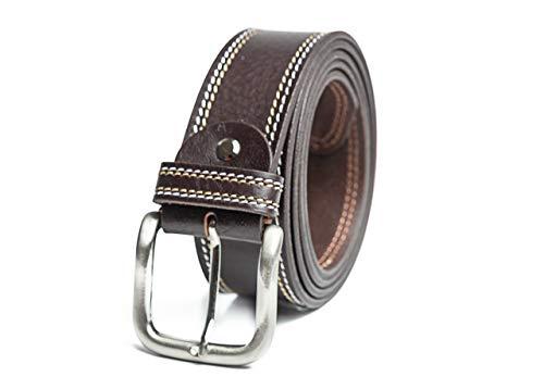 RUL Cinturón hombre cuero marrón y negro para hombre con hebilla cepillada para vestir y trabajar es un cinturon de 100% piel