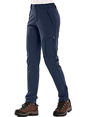 Women's Fleece Lined Outdoor Cargo Hiking Pants Water Repellent Softshell Snow Ski Pants with Zipper Pockets,H4409,Blue,30