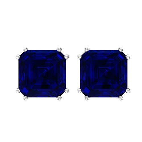 Rosec Jewels 10 quilates oro blanco asscher Blue Zafiro azul creado en laboratorio.