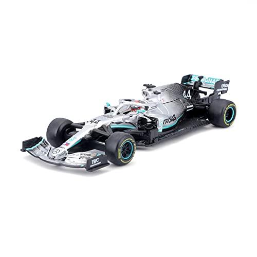 Bburago - Coche de Juguete en Miniatura Escala 1:43 Mercedes AMG Petronas F1 W10 EQ Power+ con Casco de Hamilton, B18-38049H