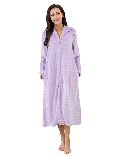 Richie House Women's Soft and Warm Fleece Robe with Zipper RHW2856-A-M Lilac